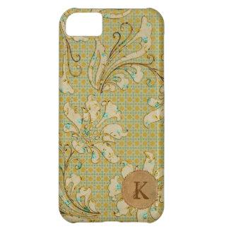 Caso retro floral del iPhone del monograma del dam Funda Para iPhone 5C