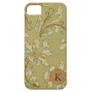Caso retro floral del iPhone del monograma del iPhone 5 Carcasas