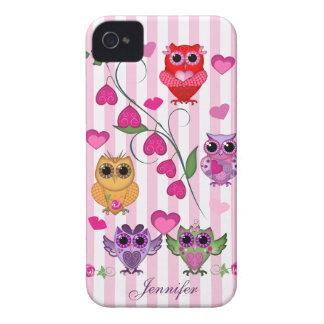 Caso romántico de los búhos y de los corazones de carcasa para iPhone 4 de Case-Mate