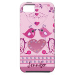 Caso romántico del iPhone 5 con los pájaros y nomb iPhone 5 Case-Mate Protector