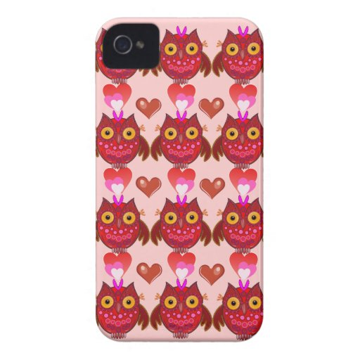 Caso romántico lindo del iPhone 4 con los búhos de Case-Mate iPhone 4 Protectores