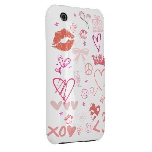 Caso rosado 4s del iPhone 4 de princesa Love Peace Case-Mate iPhone 3 Carcasa