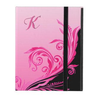 Caso rosado atractivo del iPad del monograma del