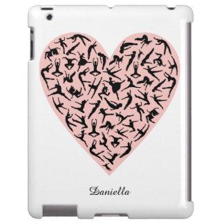 Caso rosado bonito del iPad del corazón de la danz Funda Para iPad
