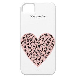 Caso rosado bonito del iPhone 5 del corazón de la iPhone 5 Funda
