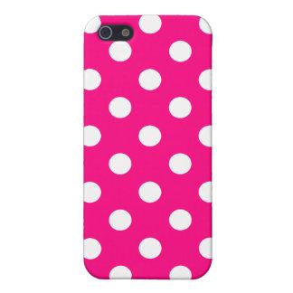 Caso rosado brillante del iPhone del lunar iPhone 5 Carcasas