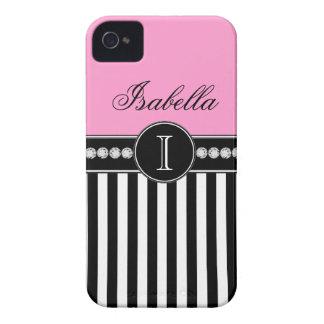 Caso rosado conocido del iPhone 4 de las rayas neg Case-Mate iPhone 4 Carcasas
