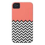 Caso rosado coralino del iPhone 4 de Chevron del b Case-Mate iPhone 4 Protector