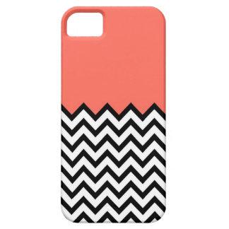 Caso rosado coralino del iPhone 5 de Chevron del iPhone 5 Carcasa