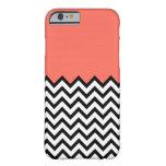 Caso rosado coralino del iPhone 6 de Chevron del Funda De iPhone 6 Slim