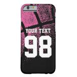 Caso rosado de encargo del iPhone del número del Funda De iPhone 6 Barely There