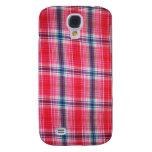 Caso rosado de Iphone de la tela escocesa