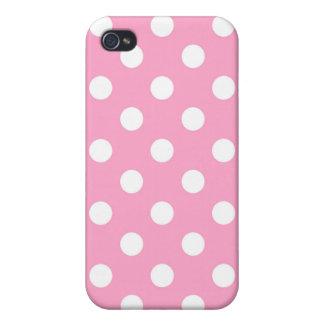 Caso rosado de Iphone del lunar del clavel iPhone 4 Carcasas
