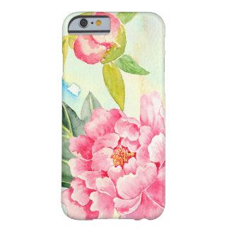 Caso rosado de Iphone del Peony de la acuarela Funda Para iPhone 6 Barely There