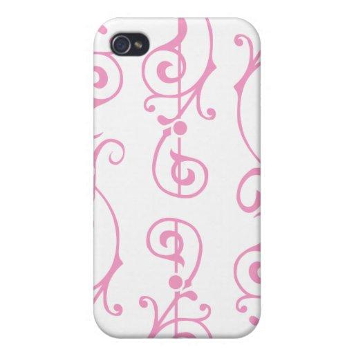 Caso (rosado) de marfil del iPhone de la fibrilla iPhone 4 Funda