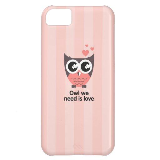 Caso rosado del búho para el teléfono funda para iPhone 5C