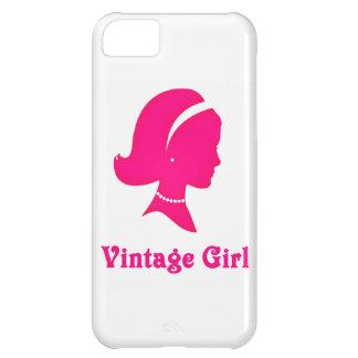 Caso rosado del chica del vintage