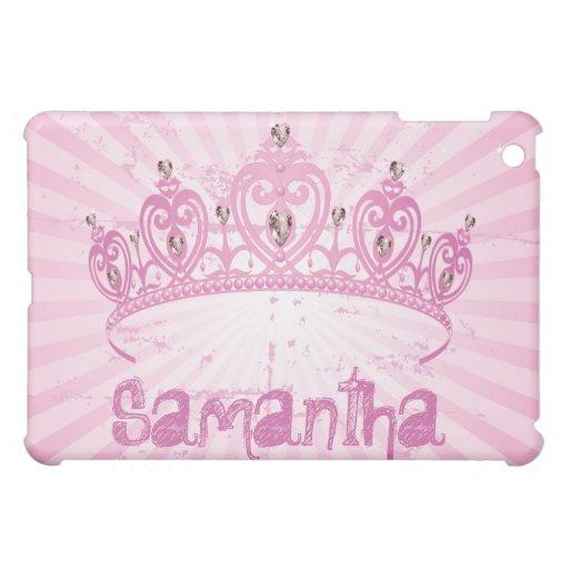 Caso rosado del iPad de princesa Crown Tiara Jewel