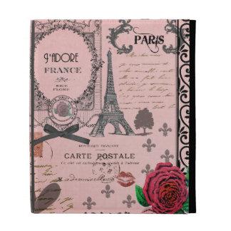 Caso rosado del ipad del collage de París del vint