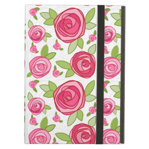 Caso rosado del iPad del estampado de flores de lo