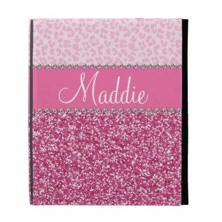 Caso rosado del iPad del leopardo BLING del diaman