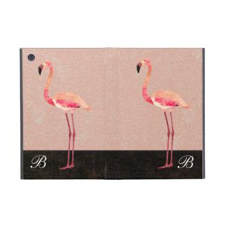 Caso rosado del iPad del monograma del flamenco iPad Mini Protectores