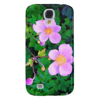 Caso rosado del iPhone 3 de la mota de las flores Funda Para Galaxy S4