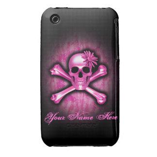 Caso rosado del iPhone 3 del cráneo del cromo Funda Bareyly There Para iPhone 3 De Case-Mate