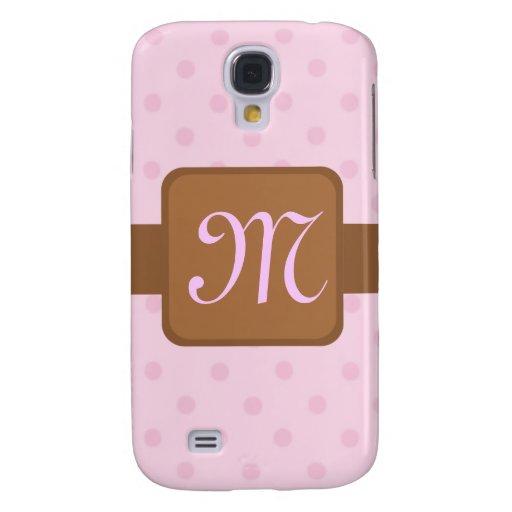 Caso rosado del iPhone 3G del monograma de los lun
