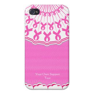 Caso rosado del iPhone 4 de la ayuda del cáncer de iPhone 4 Funda