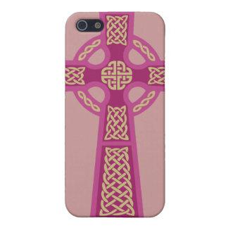 Caso rosado del iPhone 4 de la cruz céltica iPhone 5 Cobertura