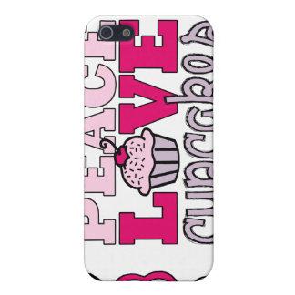 Caso rosado del iPhone 4 de la paz, del amor y de  iPhone 5 Protector