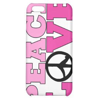 Caso rosado del iPhone 4 de la paz y del amor