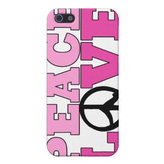 Caso rosado del iPhone 4 de la paz y del amor iPhone 5 Carcasa