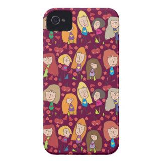 Caso rosado del iPhone 4 de los chicas del dibujo  Case-Mate iPhone 4 Funda