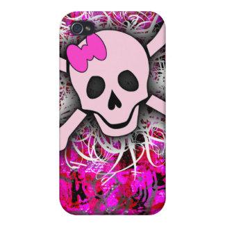 Caso rosado del iPhone 4 del cráneo iPhone 4/4S Fundas