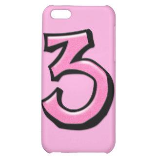 Caso rosado del iPhone 4 del número 3 tontos