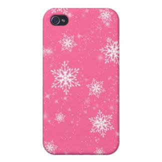 Caso rosado del iPhone 4G de los copos de nieve iPhone 4/4S Carcasa