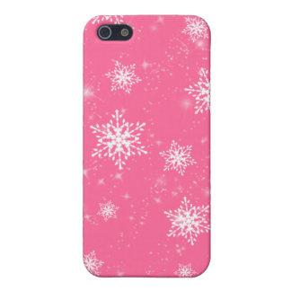 Caso rosado del iPhone 4G de los copos de nieve iPhone 5 Coberturas