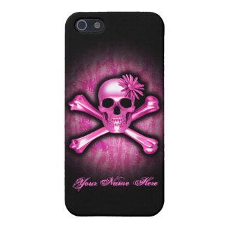 Caso rosado del iPhone 5/5S del cráneo del cromo iPhone 5 Fundas