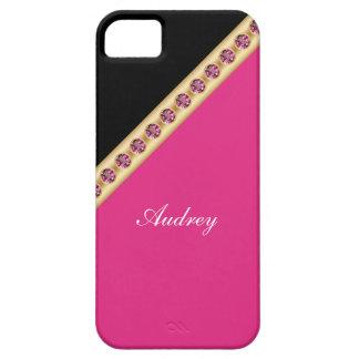 Caso rosado del iPhone 5 de Bling del monograma iPhone 5 Carcasa