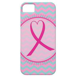 Caso rosado del iphone 5 de la cinta de Chevron iPhone 5 Funda