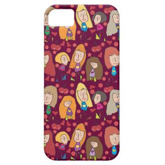 Caso rosado del iPhone 5 de los chicas del dibujo  iPhone 5 Case-Mate Carcasas