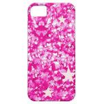 Caso rosado del iphone 5 del brillo y de las estre iPhone 5 funda