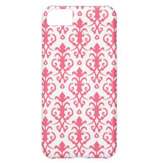 Caso rosado del iPhone 5 del damasco del borde