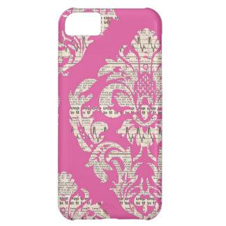 Caso rosado del iPhone 5 del damasco del vintage