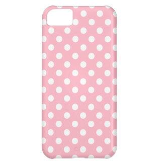 Caso rosado del iPhone 5 del lunar de la flor de Funda Para iPhone 5C