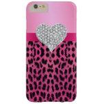 Caso rosado del iPhone 6 del corazón del diamante Funda De iPhone 6 Plus Barely There