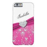 Caso rosado del iPhone 6 del damasco del corazón