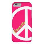 Caso rosado del iPhone 6 del signo de la paz Funda De iPhone 6 Barely There